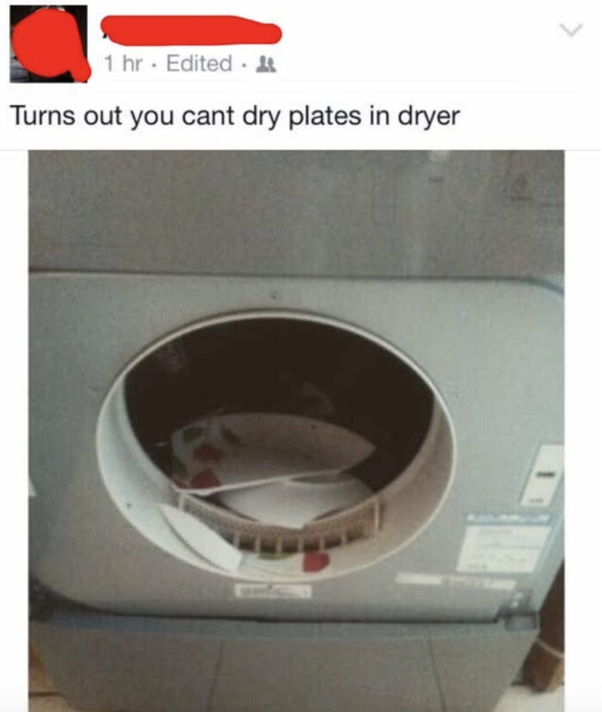 facebook post reading turns out you can't put plates in a dryer