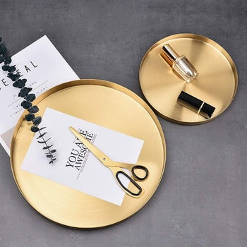 The gold tray in size medium and large