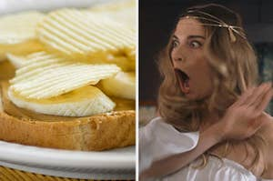 Chips on a peanut butter banana sandwich next to shocked Alexis Rose
