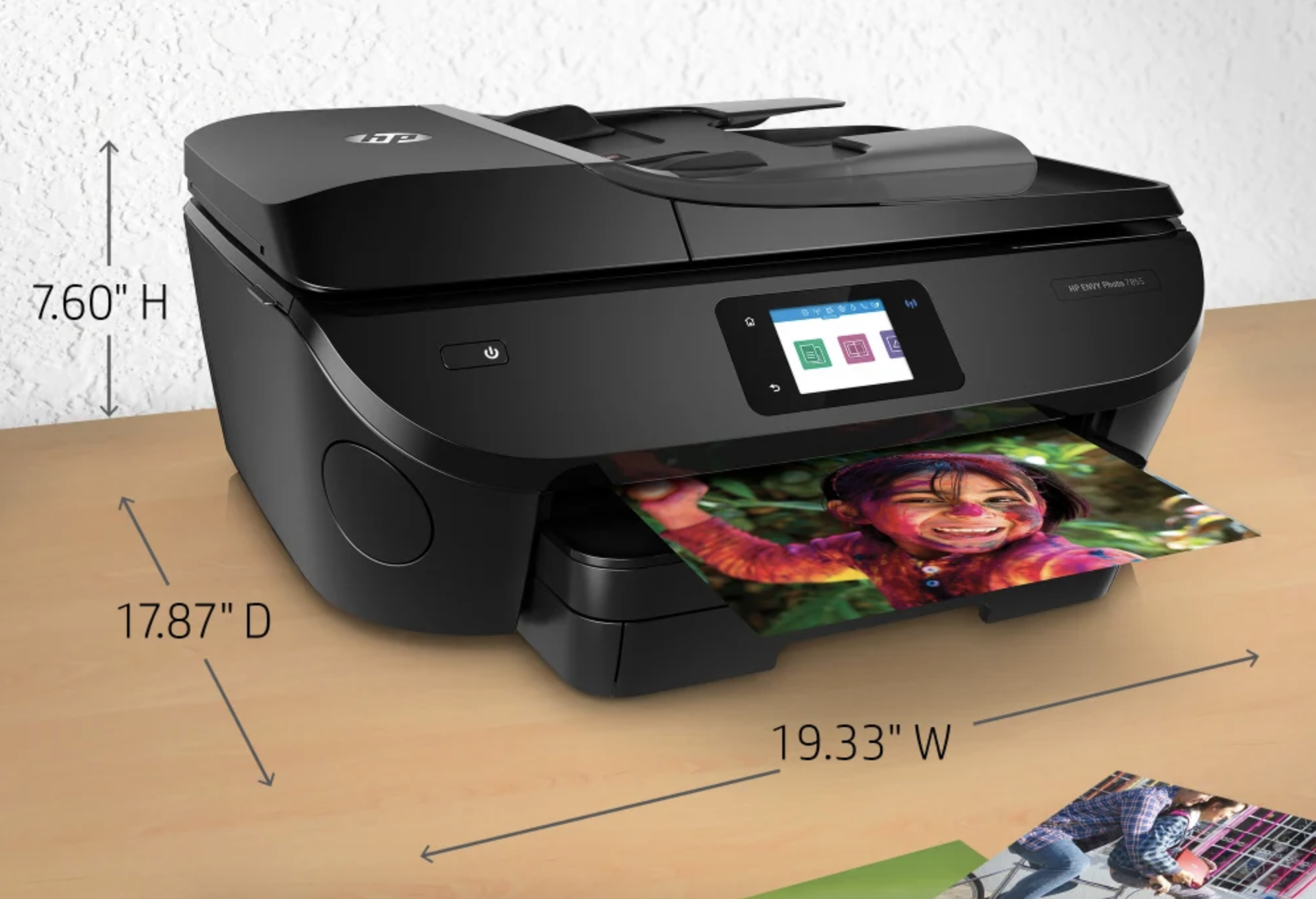 the HP Envy Photo 7855 Wireless InkJet All-In-One Color Printer printing a colorful photo