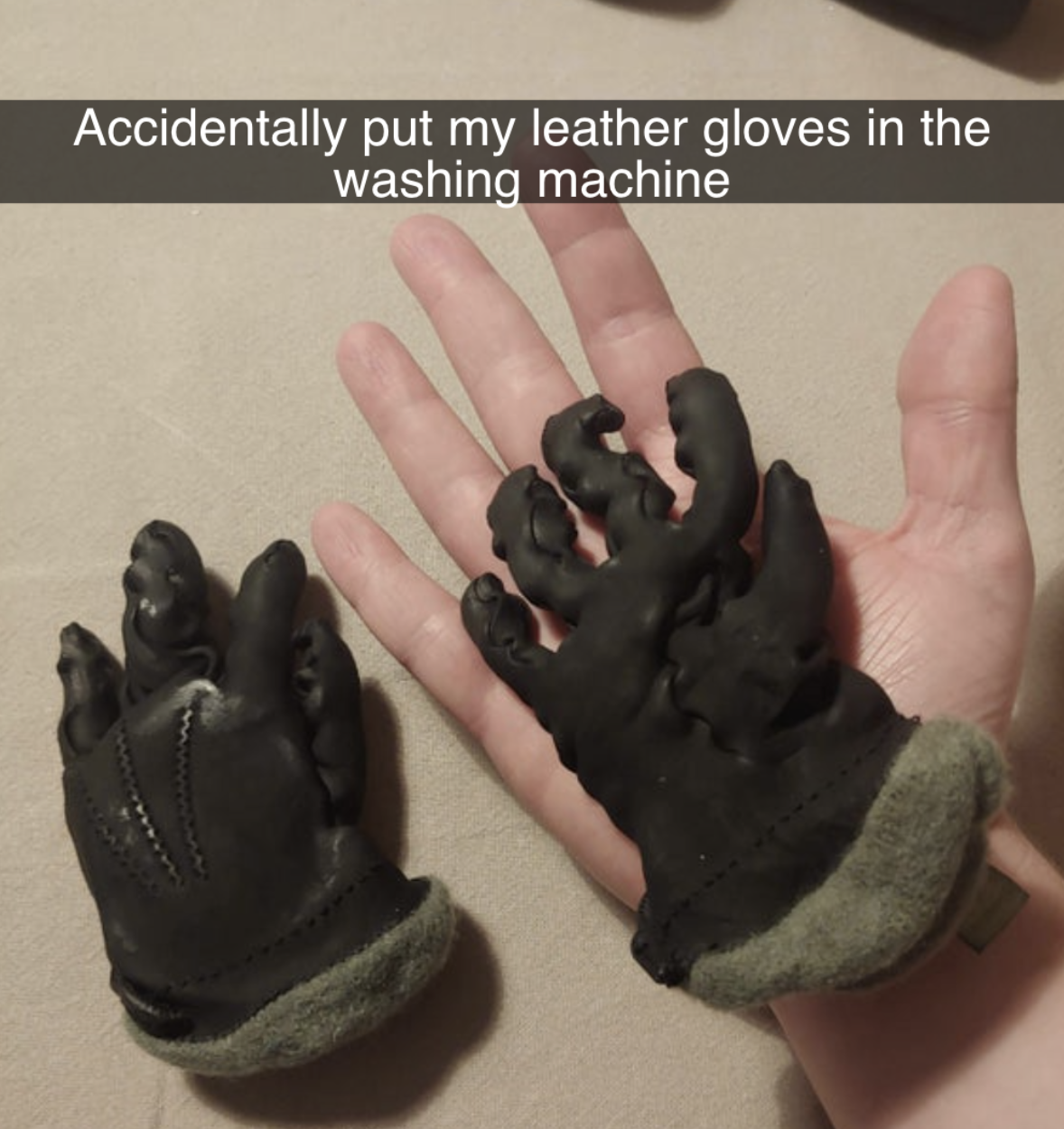 snapchat reading i accidentally put my gloves in the washing machine and they have shrunk