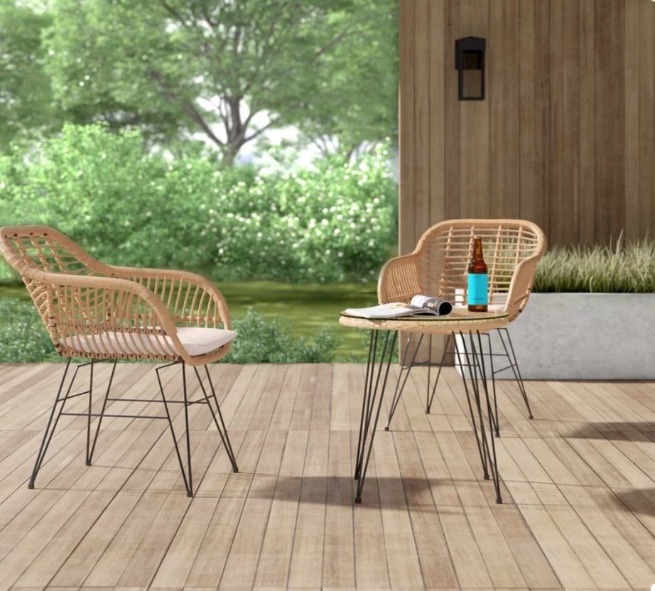 Wicker bistro set with two chairs and table