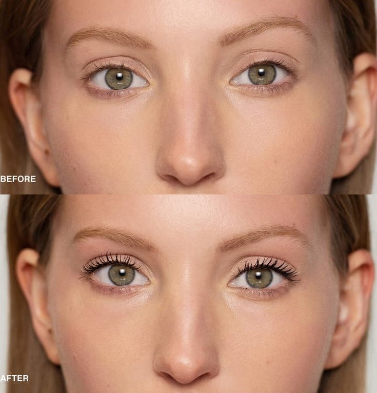 Model without the mascara on / Model with the mascara on