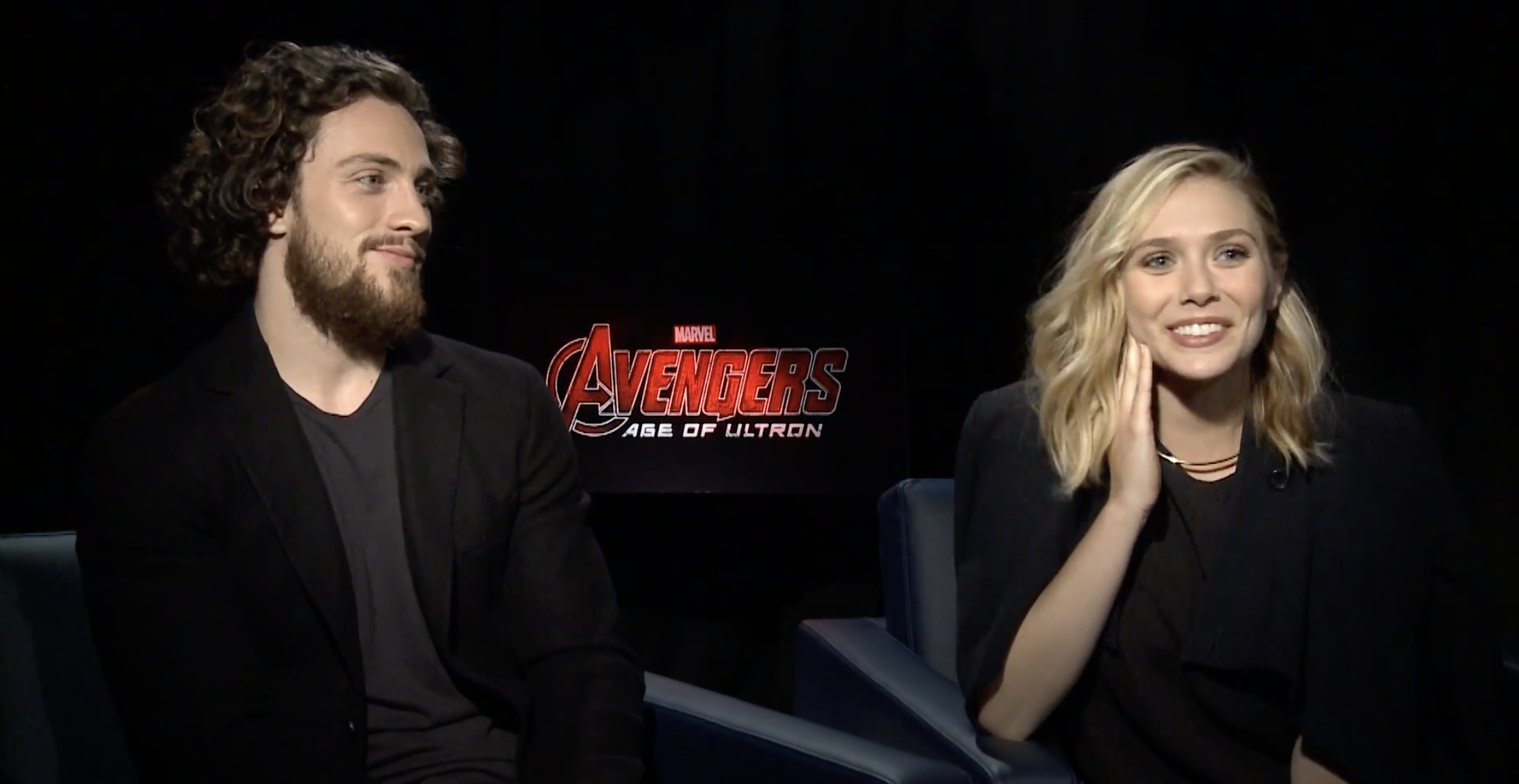 Elizabeth Olsen and Aaron Taylor-Johnson being interviewed about Avengers: Age of Ultron