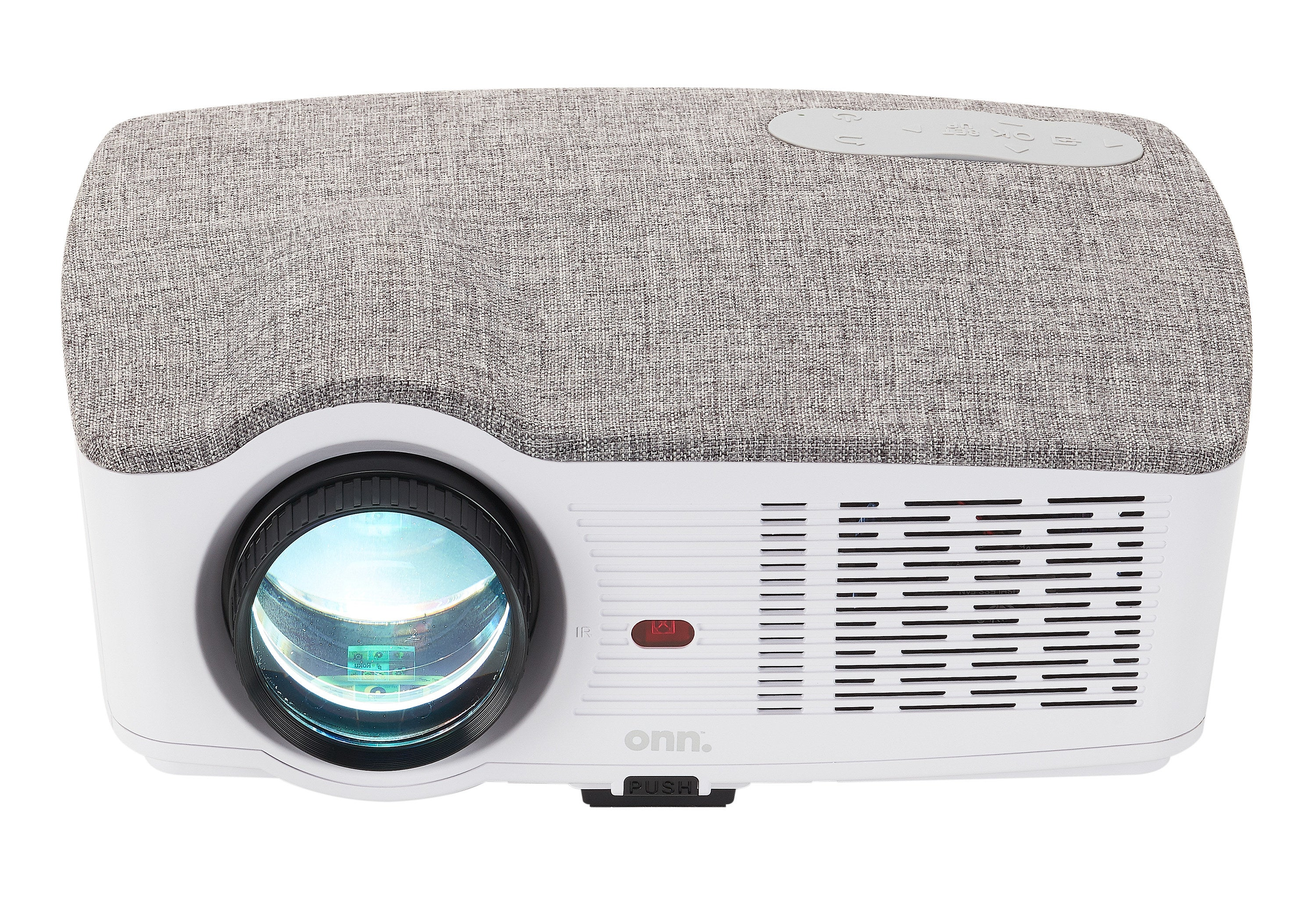 white and gray projector with light turned on