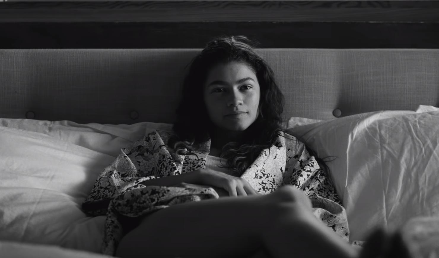 Zendaya laying in bed in Malcom & Marie
