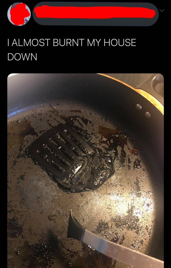 person who accidentally cooked a plastic spatula on a frying pan