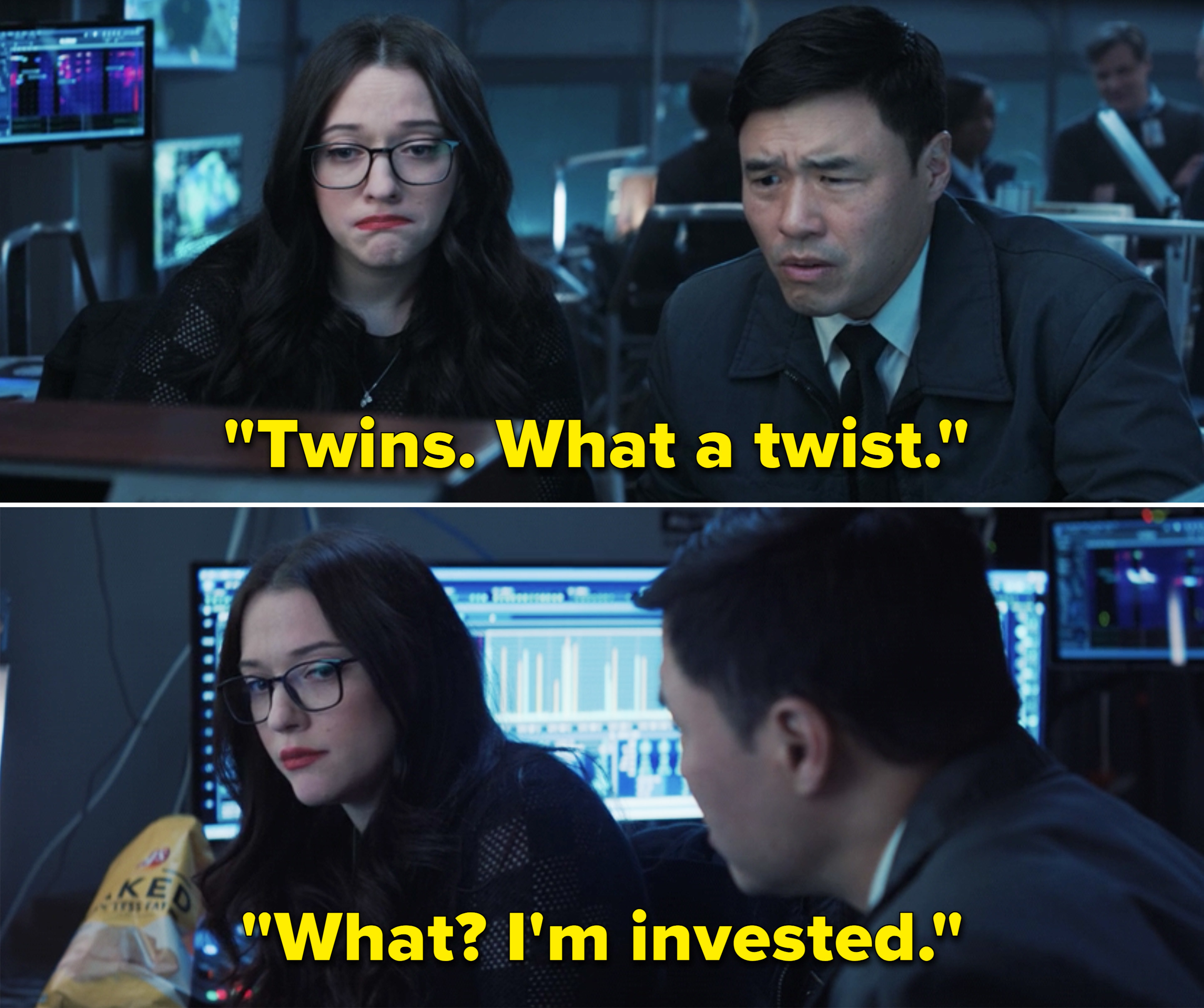 """Agent Woo says """"Twins. What a twins."""" and Darcy tears up and says """"What? I'm invested"""" when Woo gives her a questioning look"""