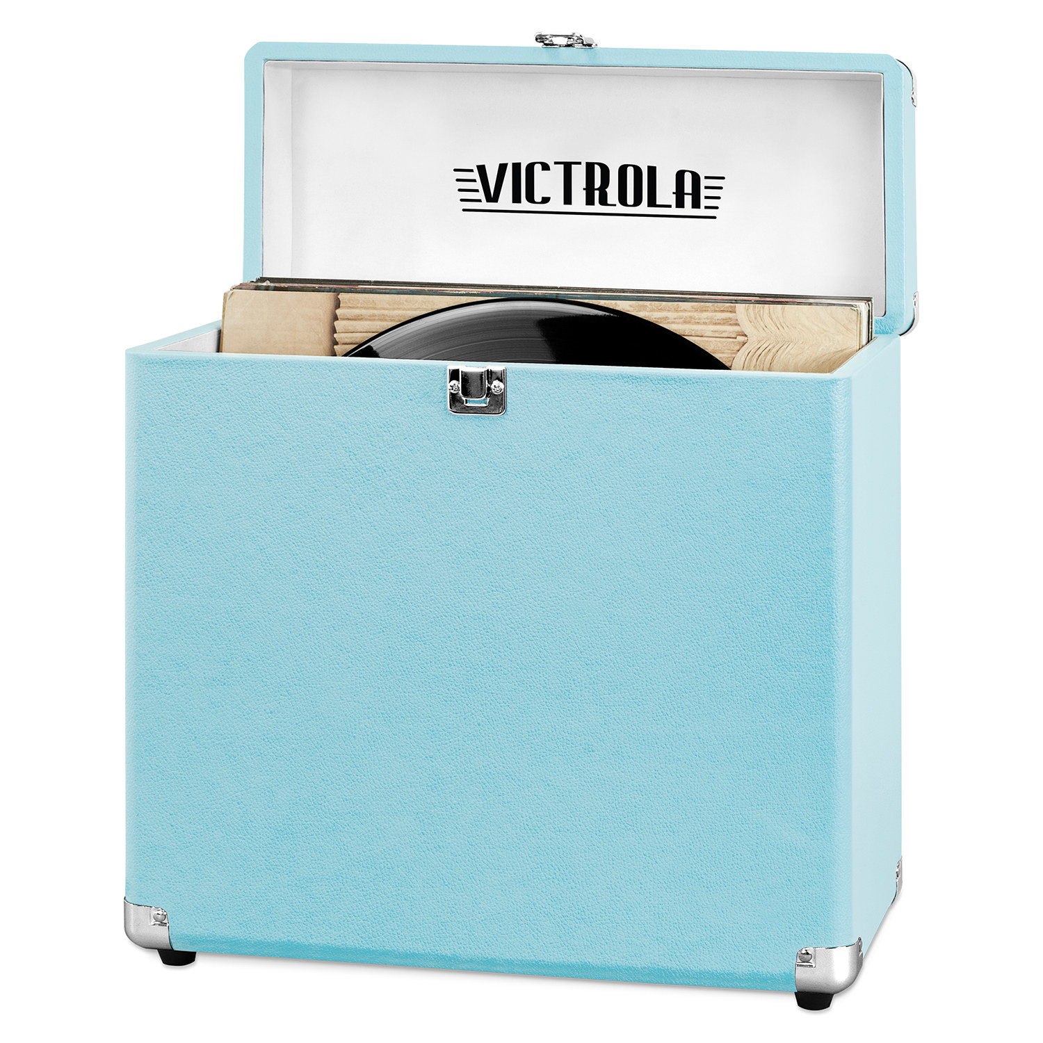 The case, which is shaped like a vinyl album, and has a hinged top, in turquoise