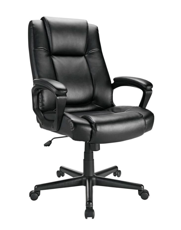 Black leather swivel office chair with arm rests