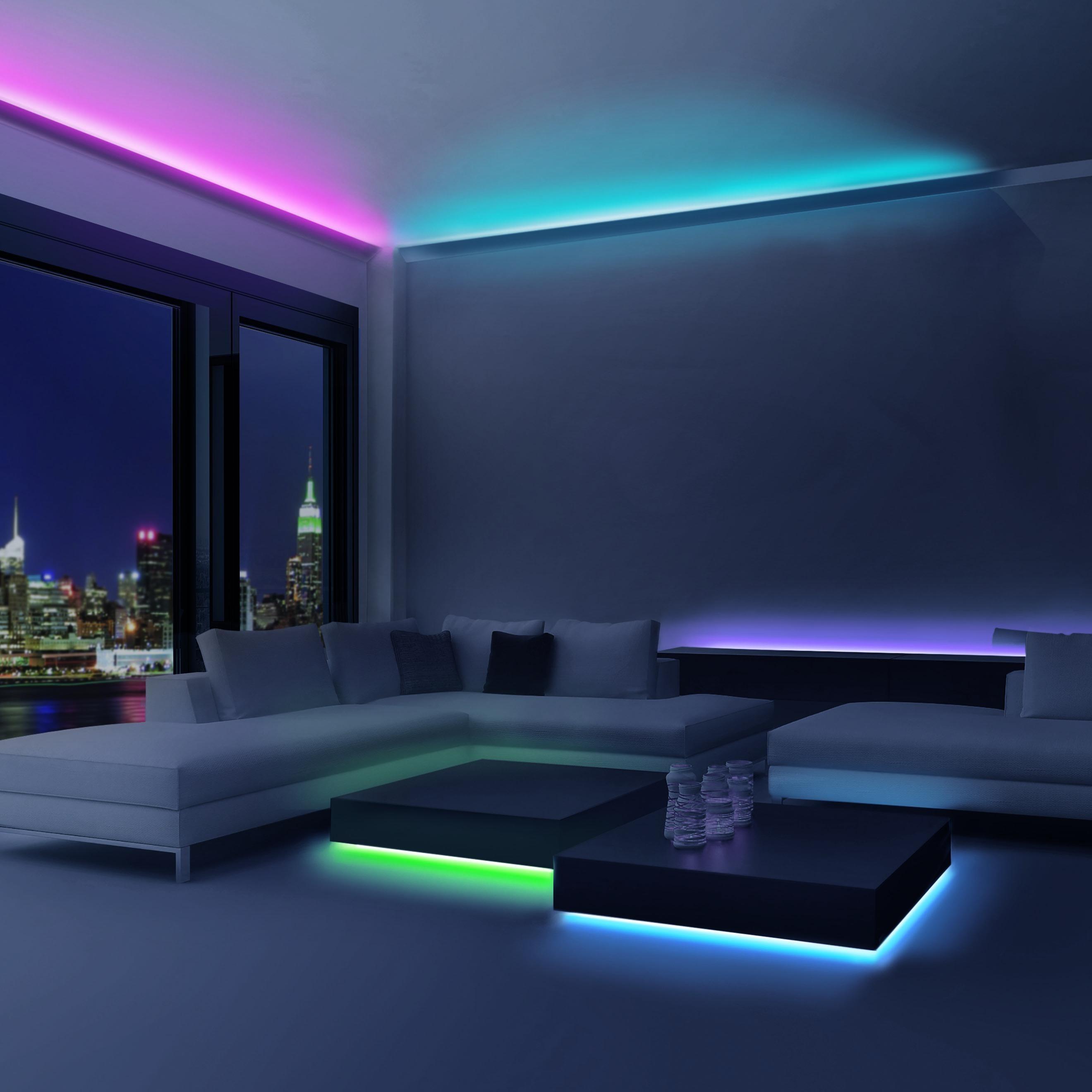 LED strip lights around the room