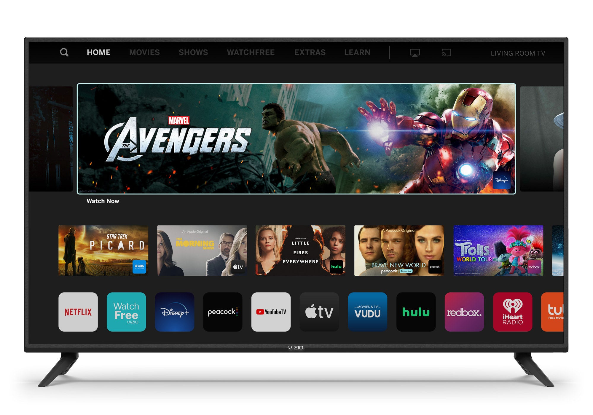 vizio tv with apps show on top