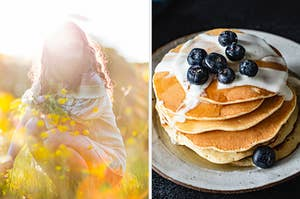 On the left, someone kneeling in a field of flowers as the sun sets behind them, and on the right, a stack of pancakes topped with yogurt and blueberries
