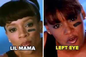 """Lil Mama as Left Eye in """"CrazySexyCool: The TLC Story"""" and Left Eye singing in TLC's """"Waterfalls"""" music video"""