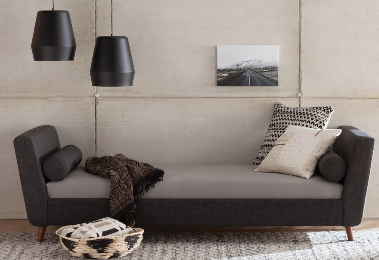 Dark gray daybed with wooden legs and light gray cushion