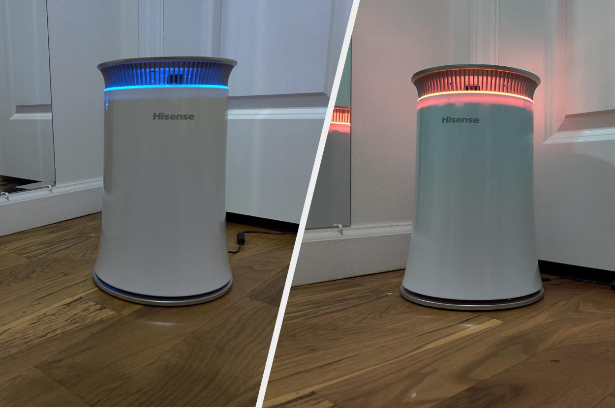 Split image of white air purifier with blue lights and red lights