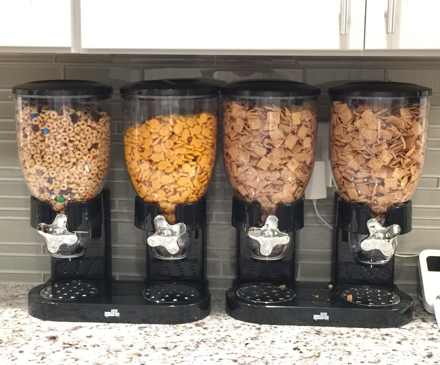 Reviewer dry food dispenser on kitchen counter
