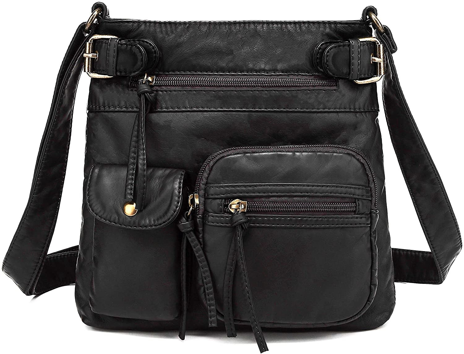 New Women/'s Stylish Three Compartment Messenger//Cross Body Bag With Front Pocket