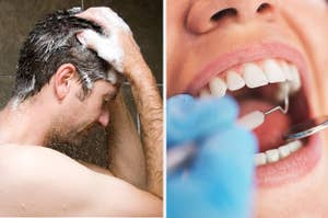 An open mouth being worked on by a dentist next to a man showering