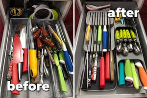 a messy cutlery drawer on the left on the right a neat cutlery drawer