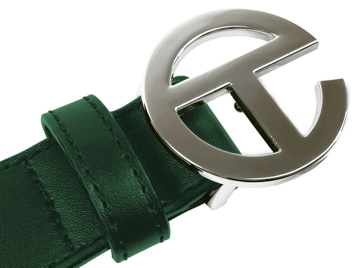 The green leather belt with silver logo buckle