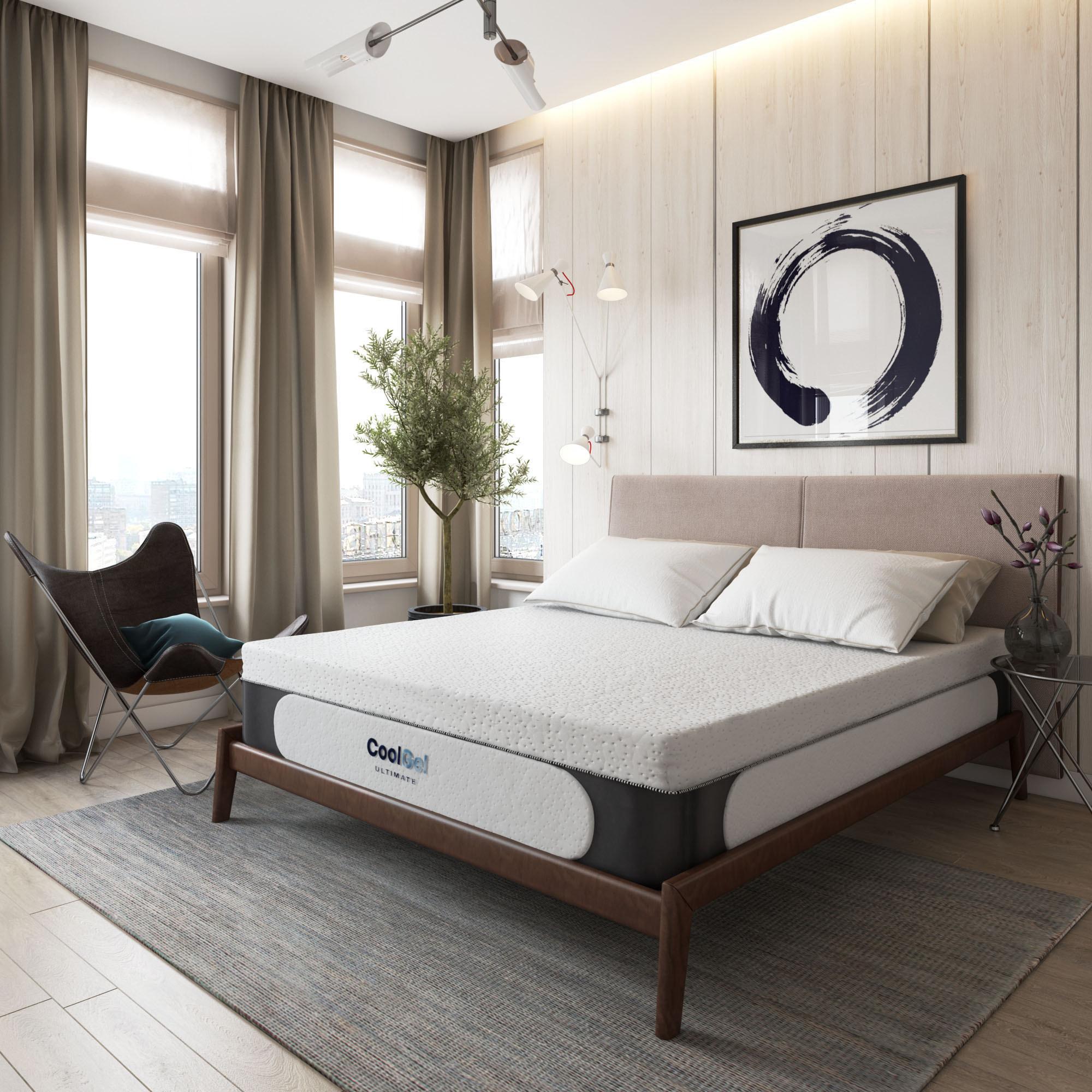 cool gel memory foam mattress with pillows on top