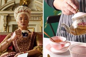 Queen Charlotte from Bridgerton sipping tea next to a beautiful Regency era tea set