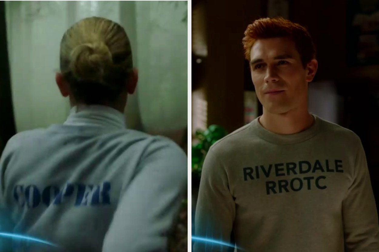 Archie and Betty wearing crewnecks