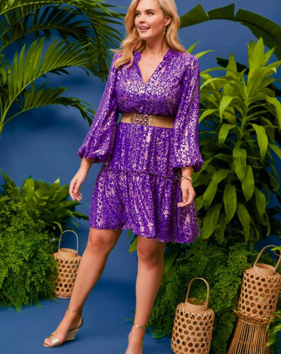 A model wearing the silk dress