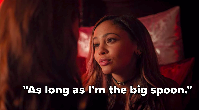 "Toni says, ""As long as I'm the big spoon"""
