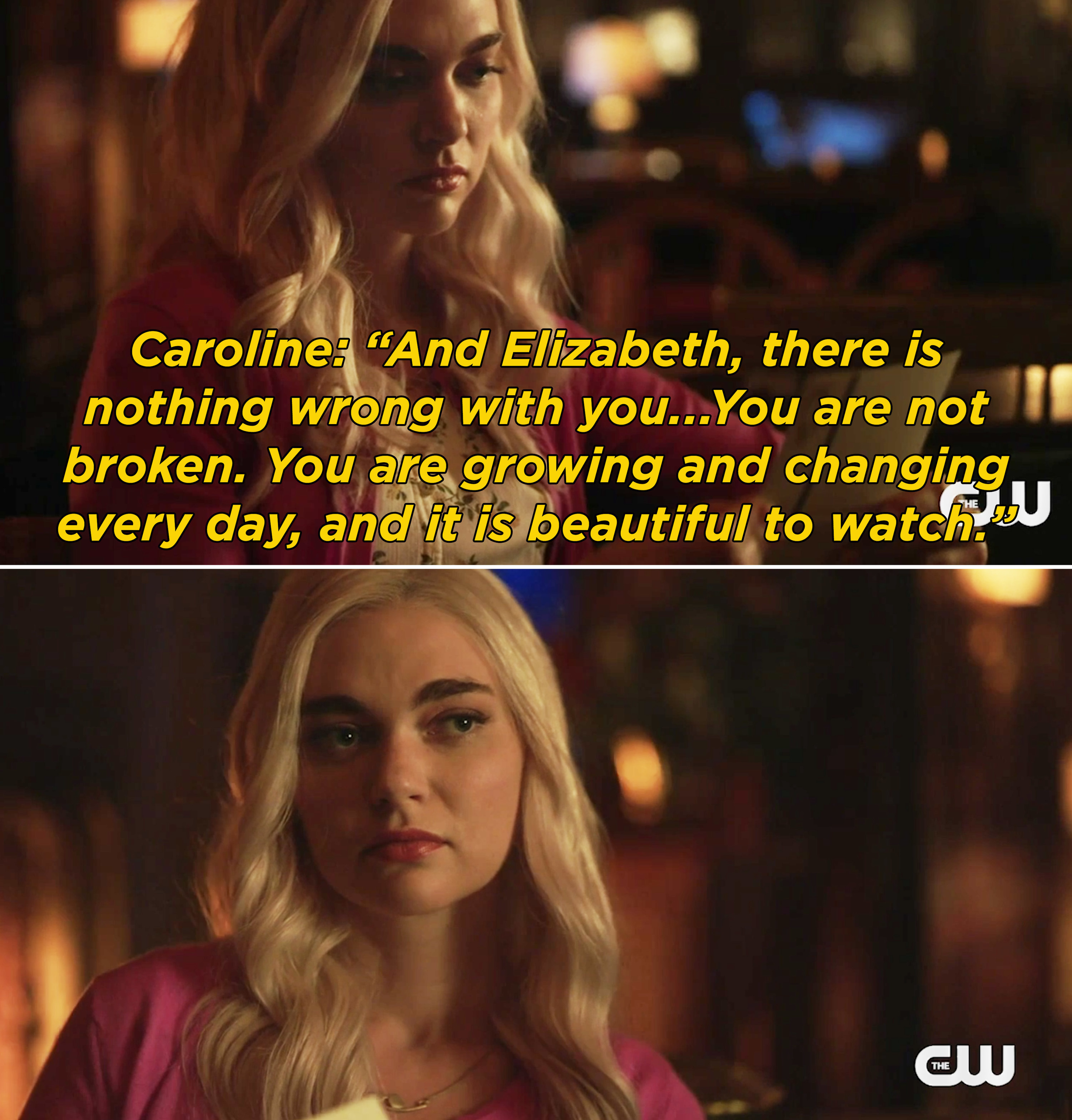 """Caroline's letter saying that there is nothing wrong with Lizzie and she is """"not broken"""""""