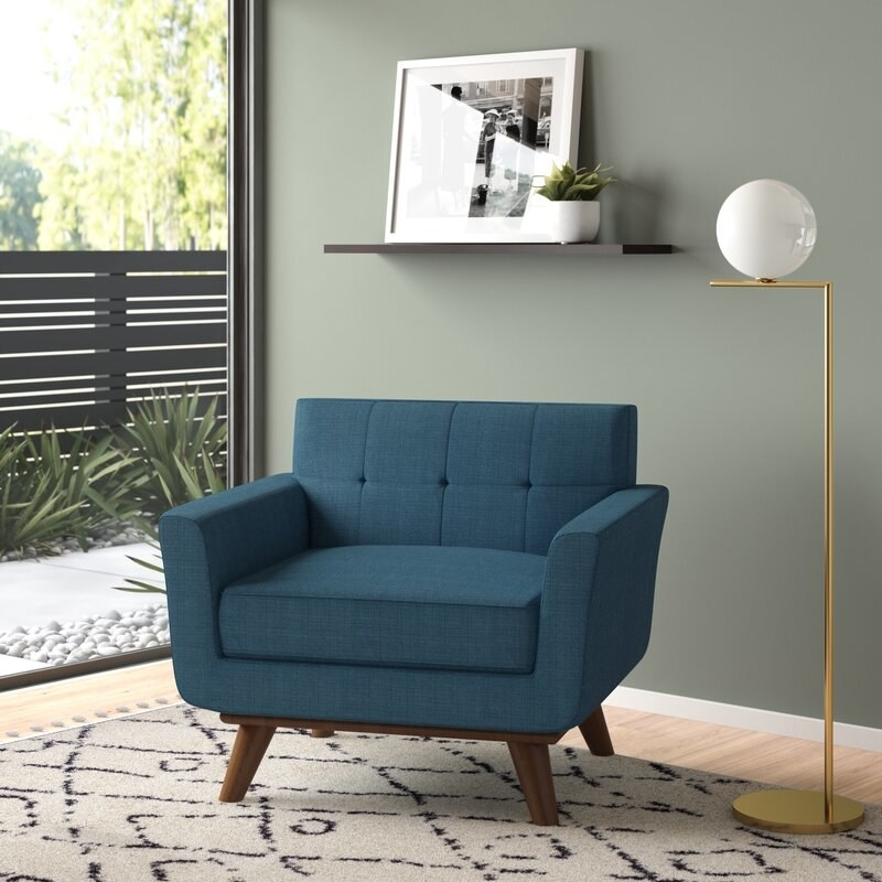 the navy blue chair
