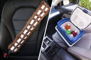left image: chewbacca seat belt cover, right image: drink cooler