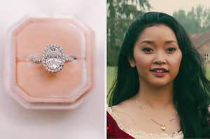 engagement ring and lara jean in the field