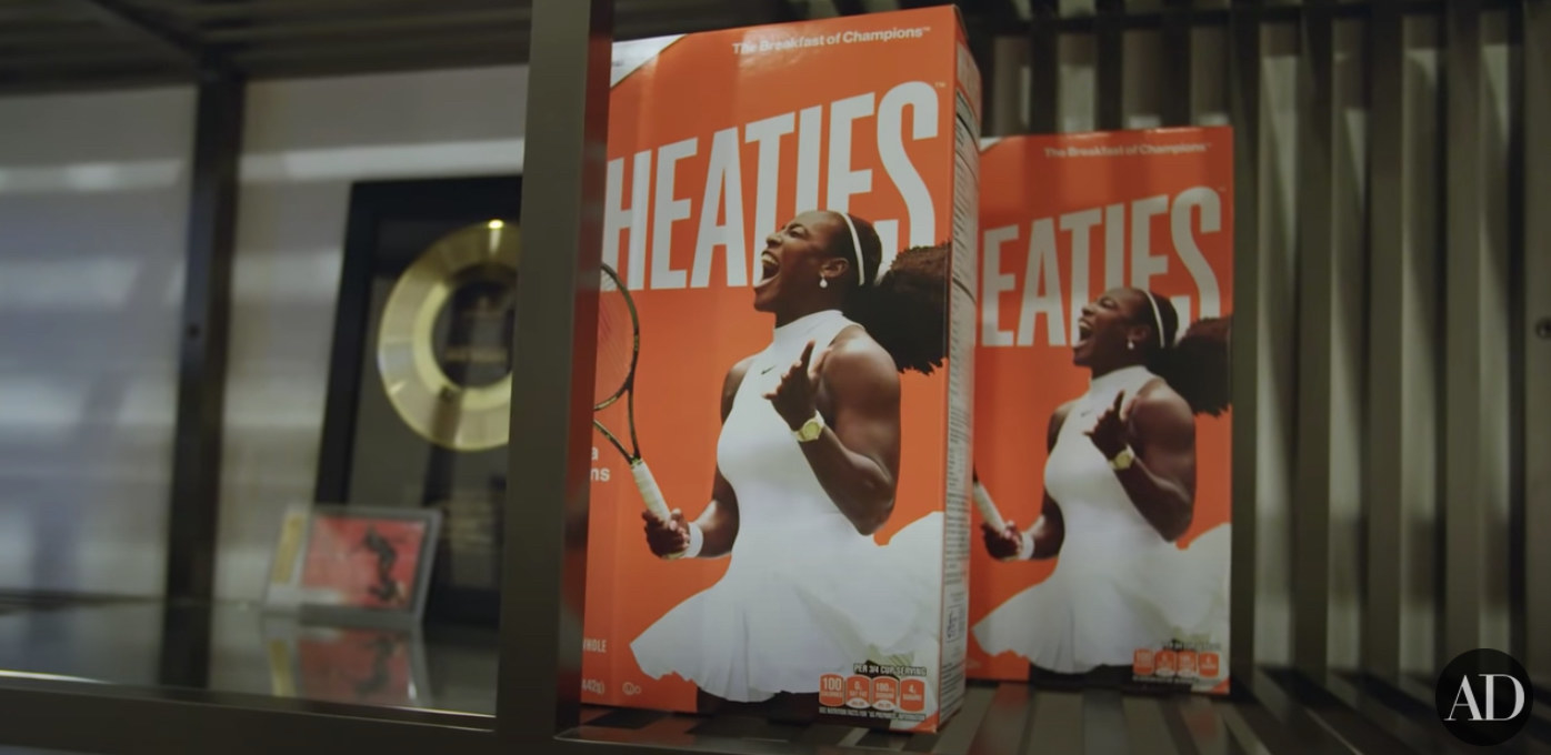 A Wheaties box with Serena Williams on the front of the box