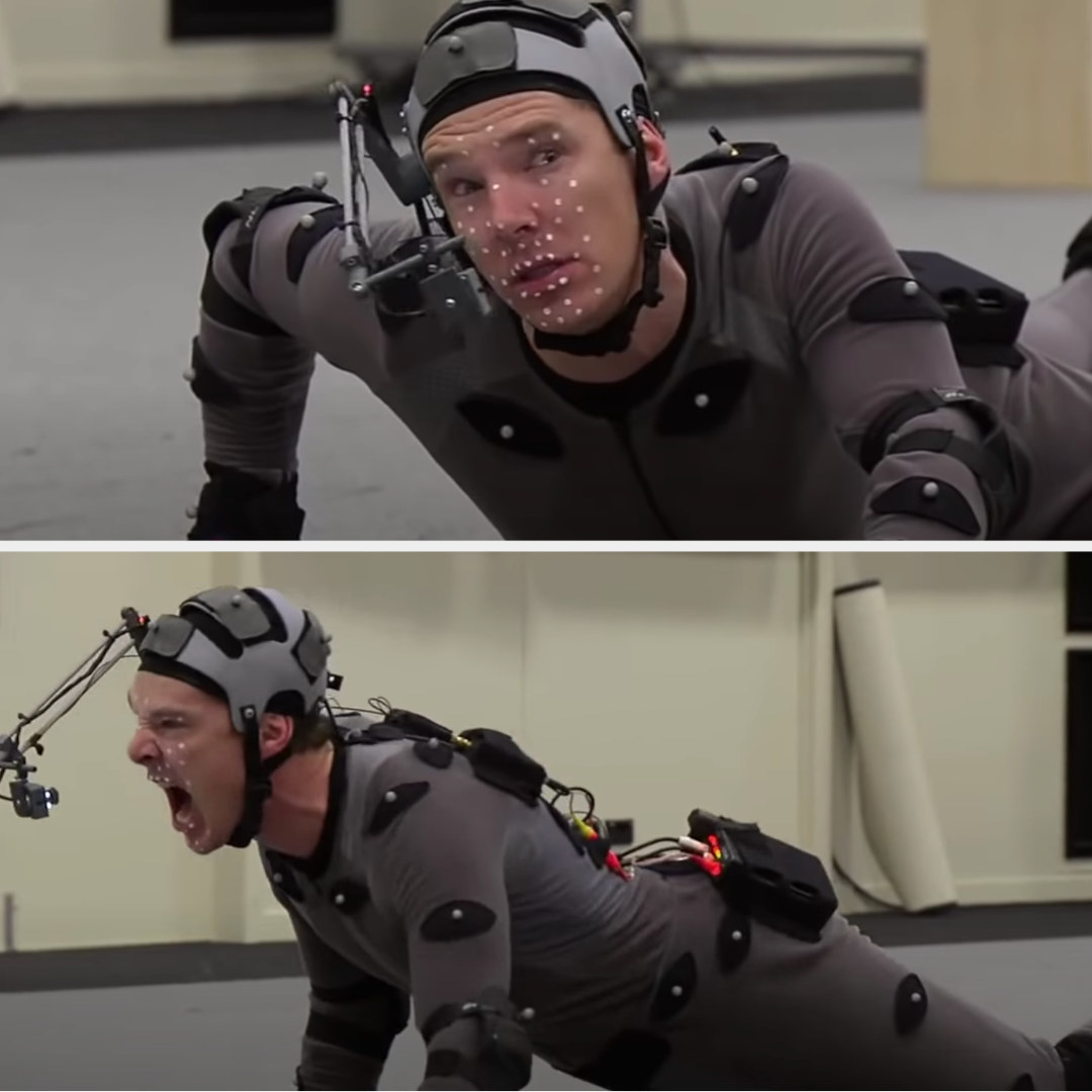 in a motion capture tight suit and helmet and with his face covered in dots, Benedict moves on the ground and roars like a dragon
