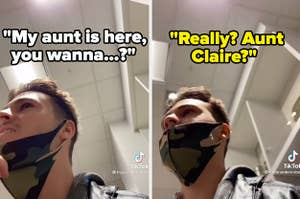 "Tiktok of guy pretending her knows a girl, saying his aunt is there. The girl replies, ""Really? Aunt Claire?"""