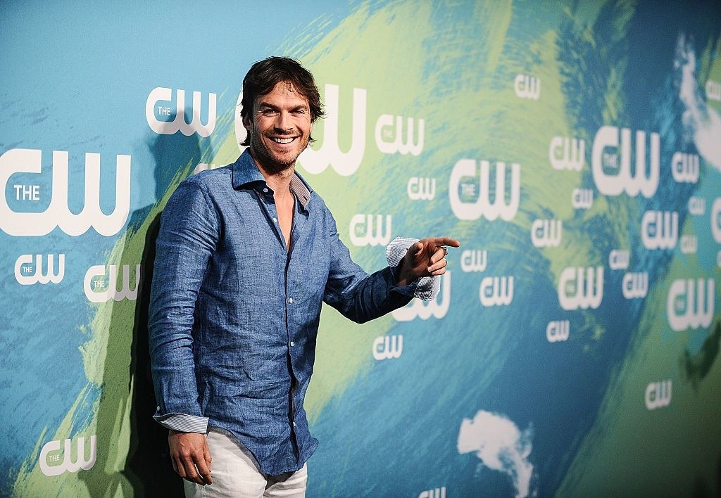 Ian Somerhalder wearing a chambray shirt and pants at The CW Network's 2016 New York Upfront in May 2016 in New York City