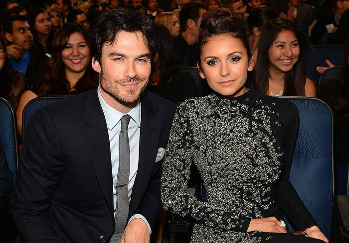 Ian Somerhalder and Nina Dobrev sitting in the audience at The 40th Annual People's Choice Awards in January 2014