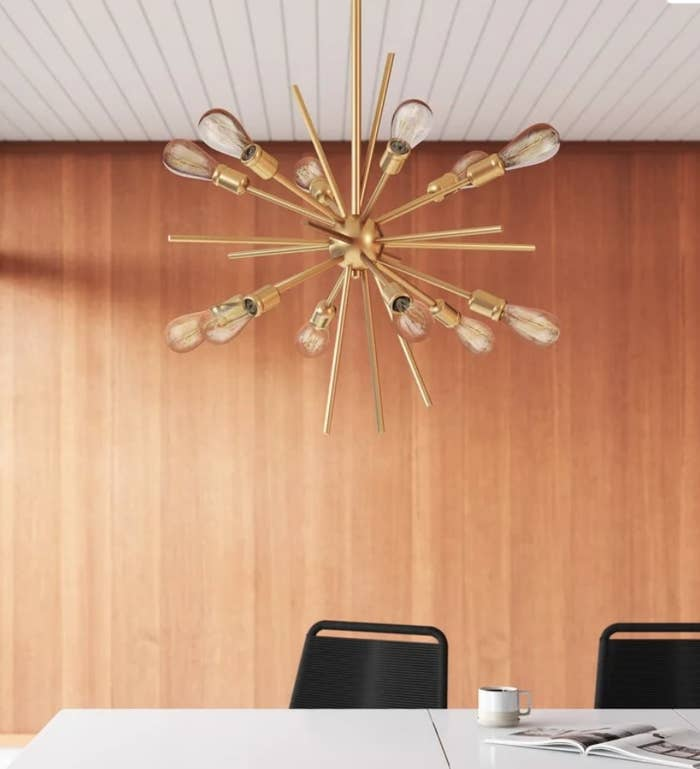 Gold pronged chandelier