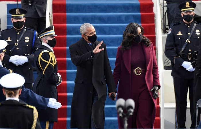 Barack and Michelle, with bouncy curly hair, Obama at President Joe Biden's inauguration