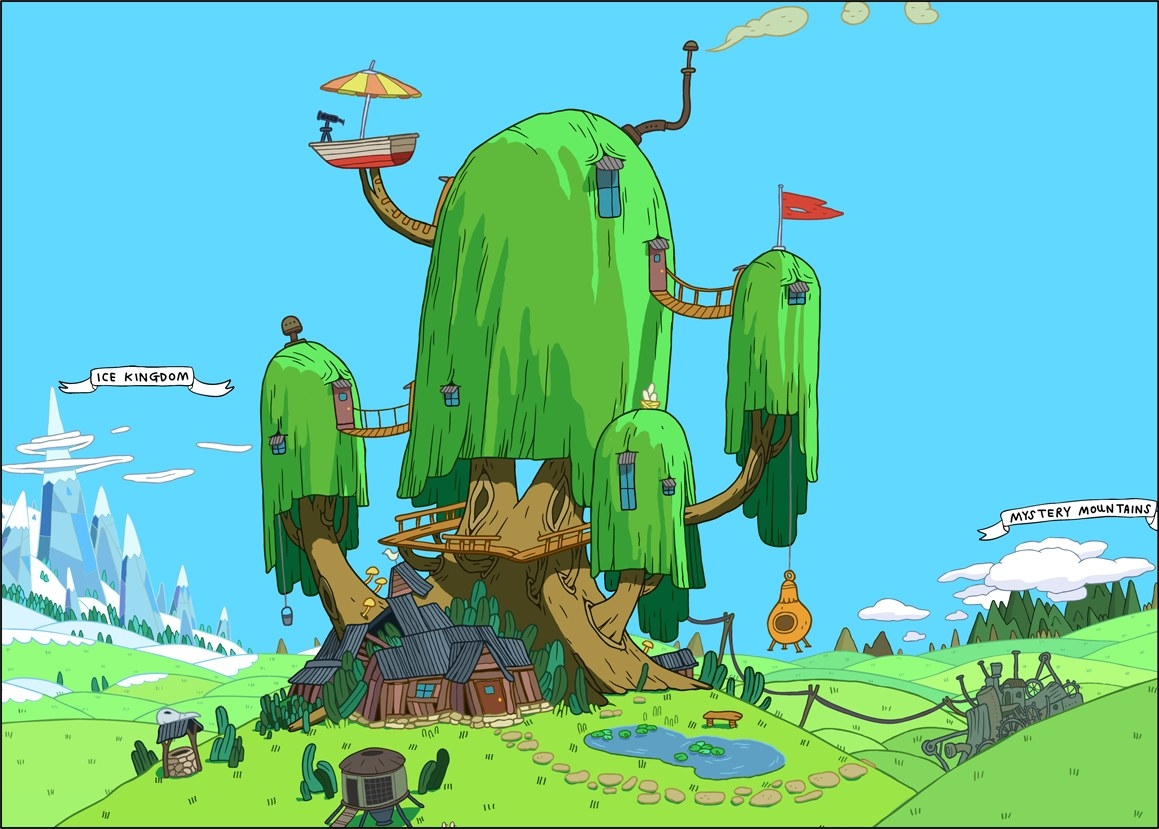 A large cartoon willow tree with windows and doors in the leaves and some bridges connecting the doors.