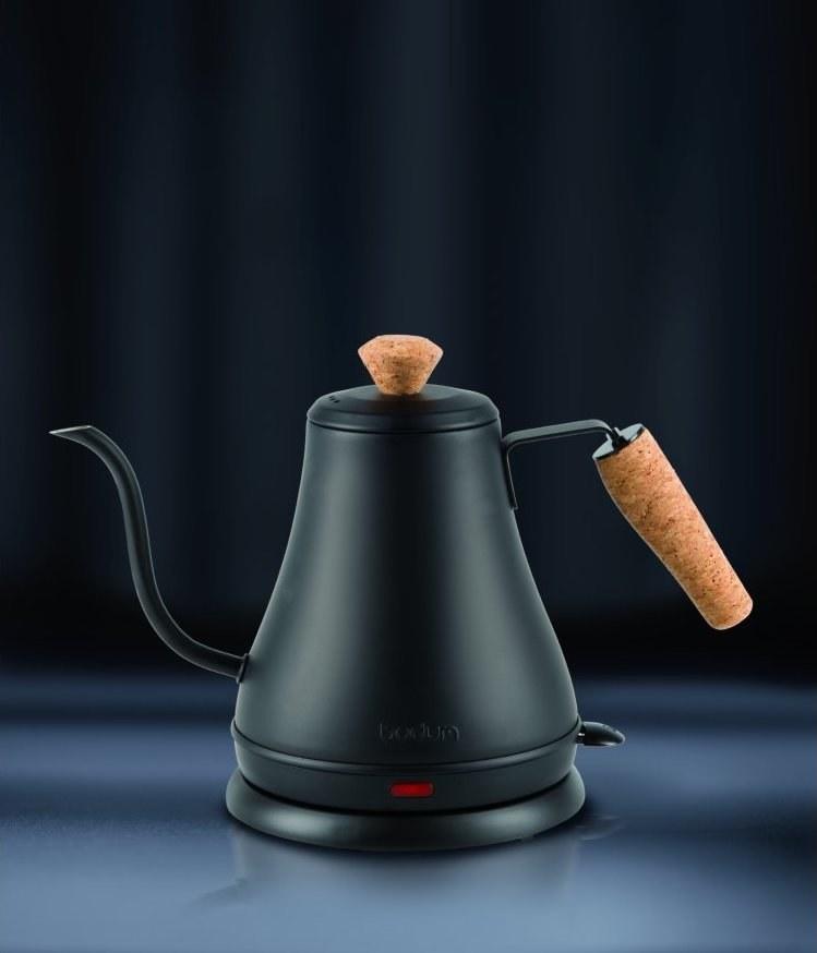matte black gooseneck kettle with a cork handle