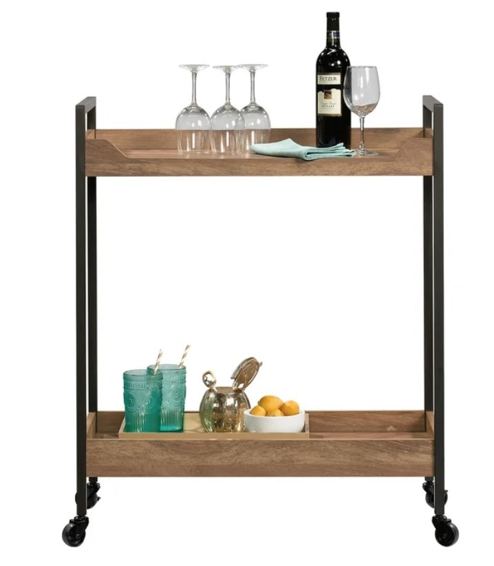 Wooden bar cart with black detailing