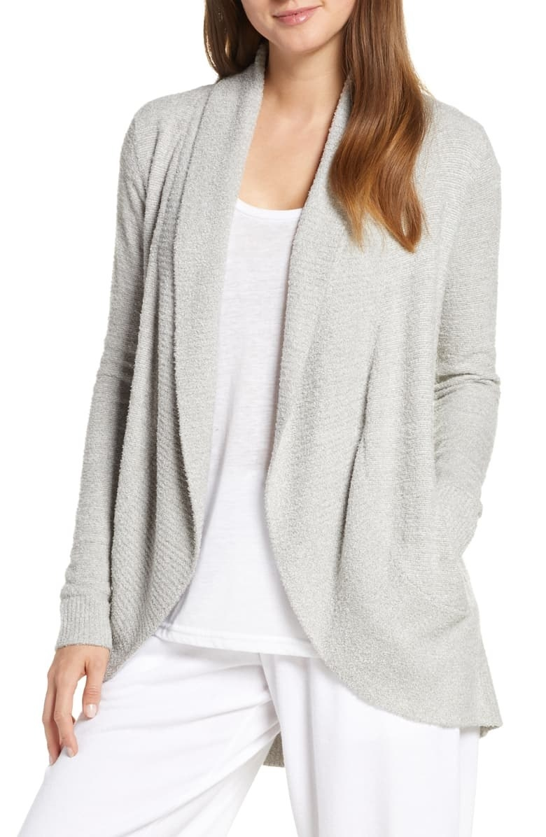 A model wearing the cardigan in Pewter/Pearl