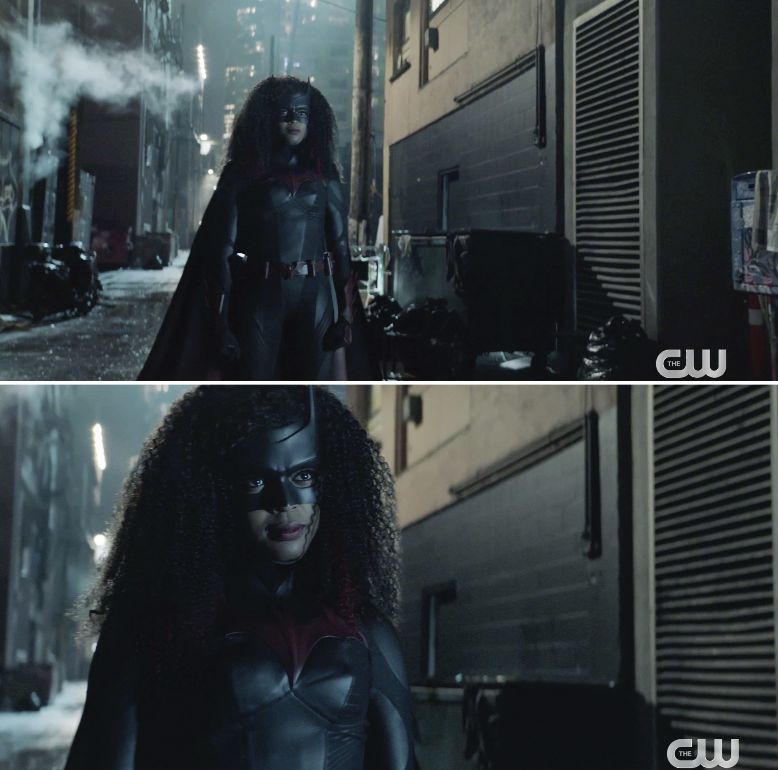 Ryan in an alleyway in her Batsuit complete with a new wig
