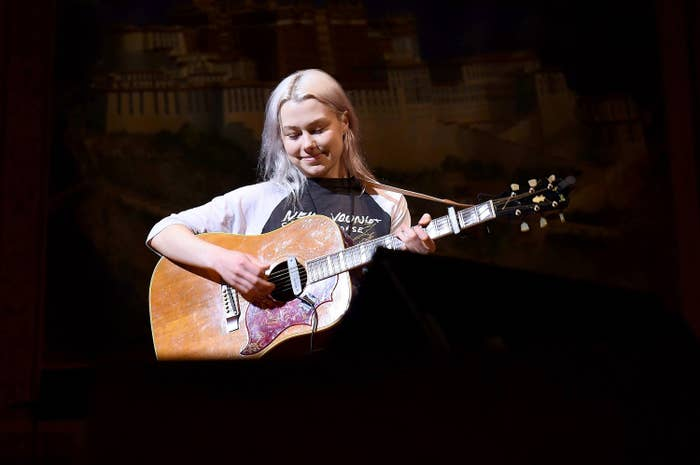Phoebe Bridgers plays guitar during a rehearsal for the Tibet House Benefit Concert & Gala