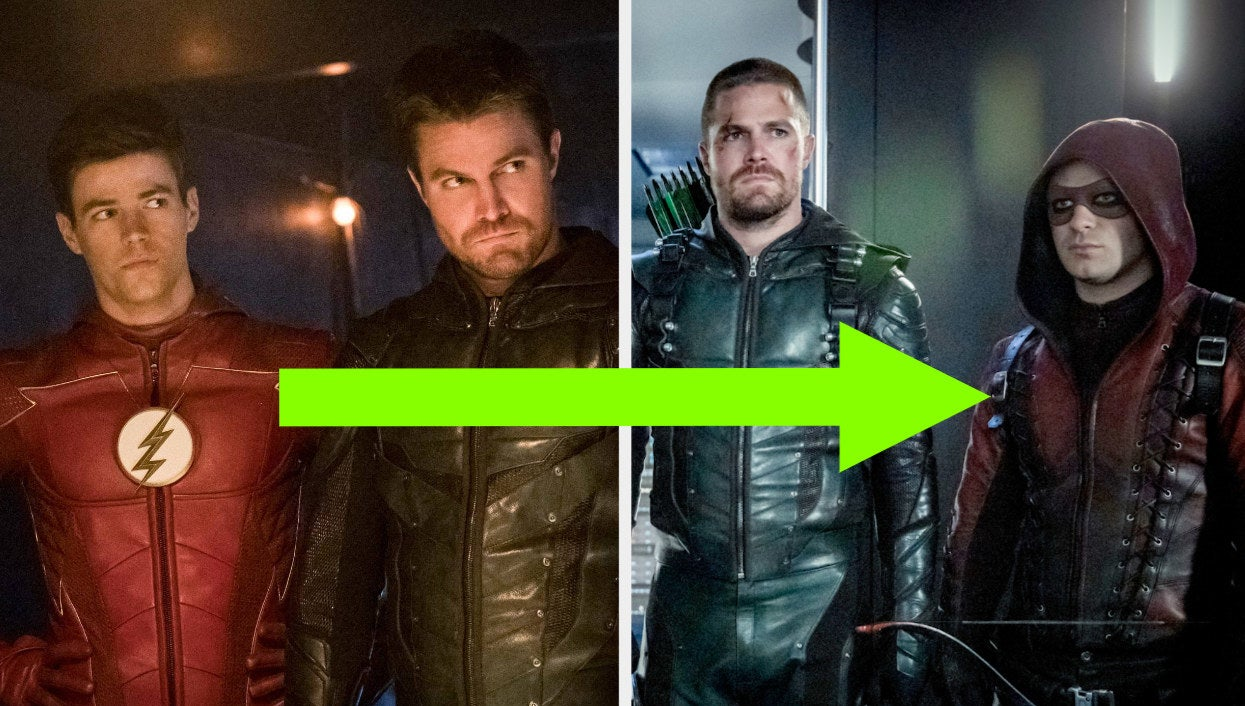 Barry and Oliver on Arrow with an arrow pointing to a photo of Roy and Oliver on Arrow