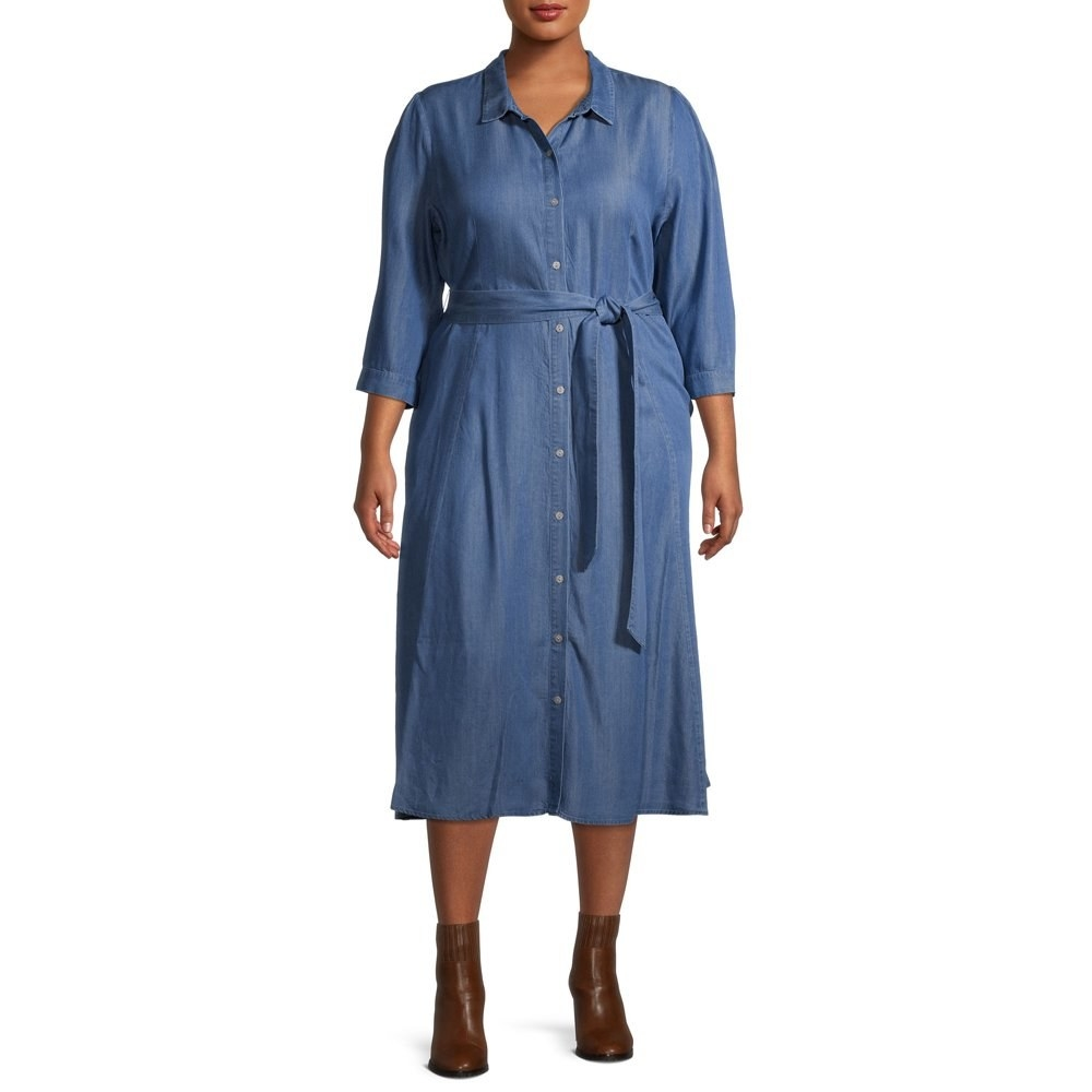 Model in belted shirtdress