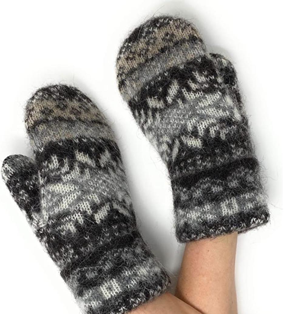 icelandic wool mittens on hands